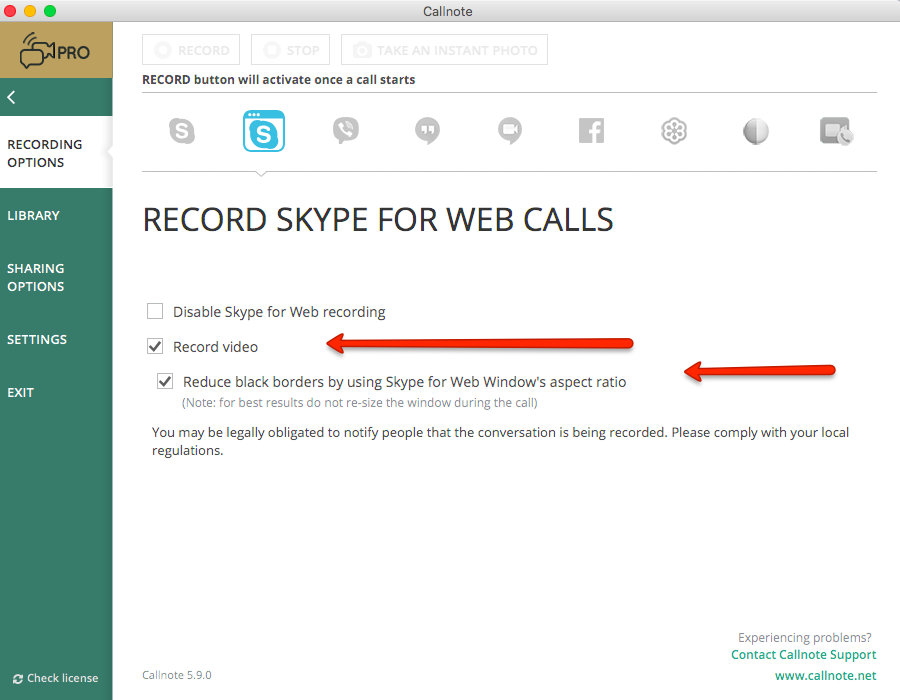 Skype for web recording